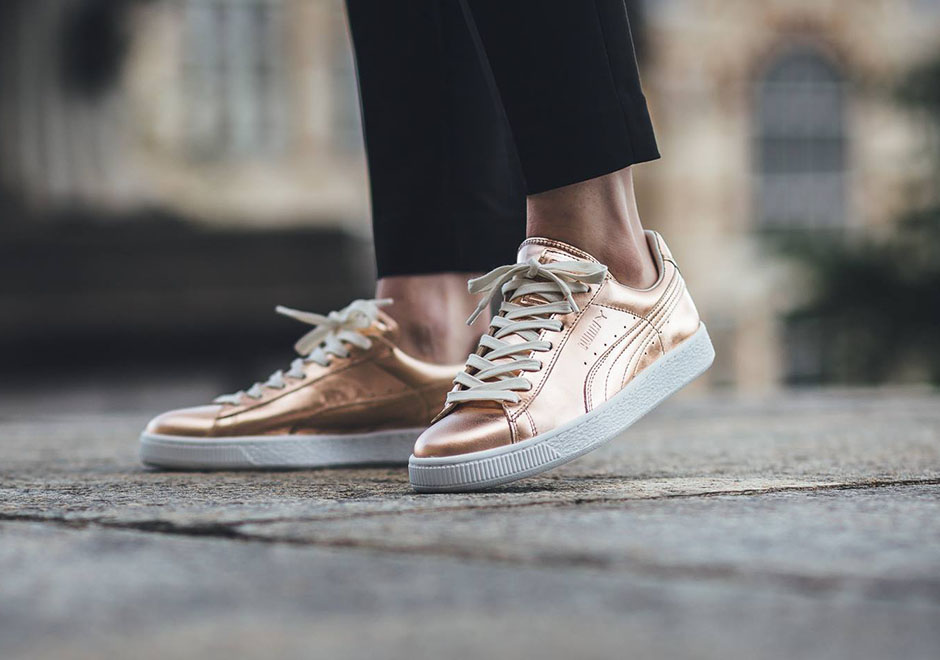 puma basket rose gold