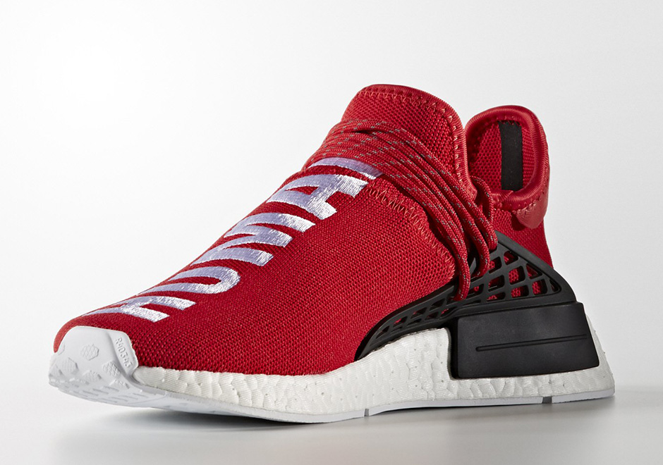 """50d61be00ba0d THE PHARRELL X ADIDAS NMD """"HUMAN RACE"""" IS RELEASING IN RED."""